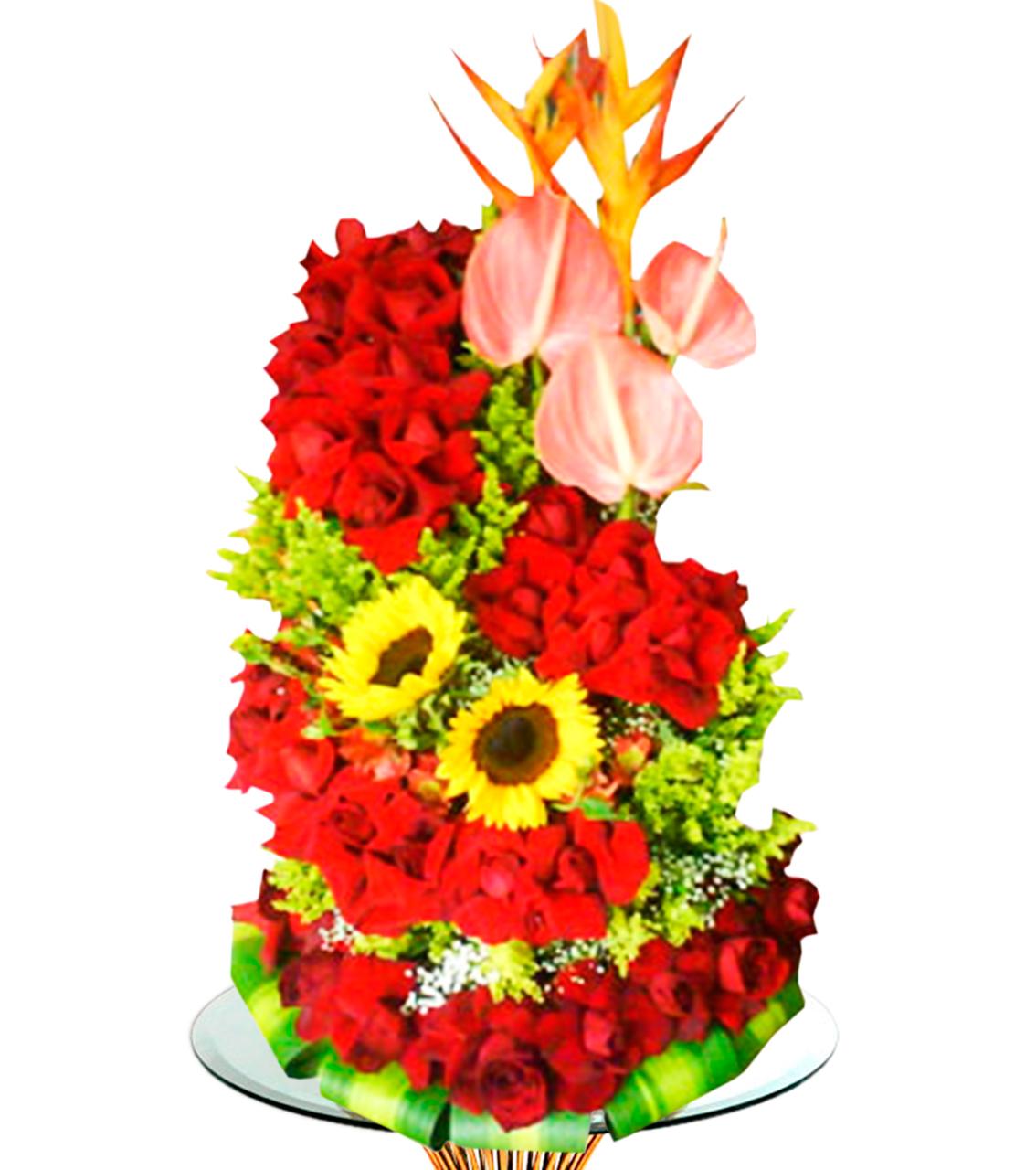 Bouquet en dos montones de rosas rojas