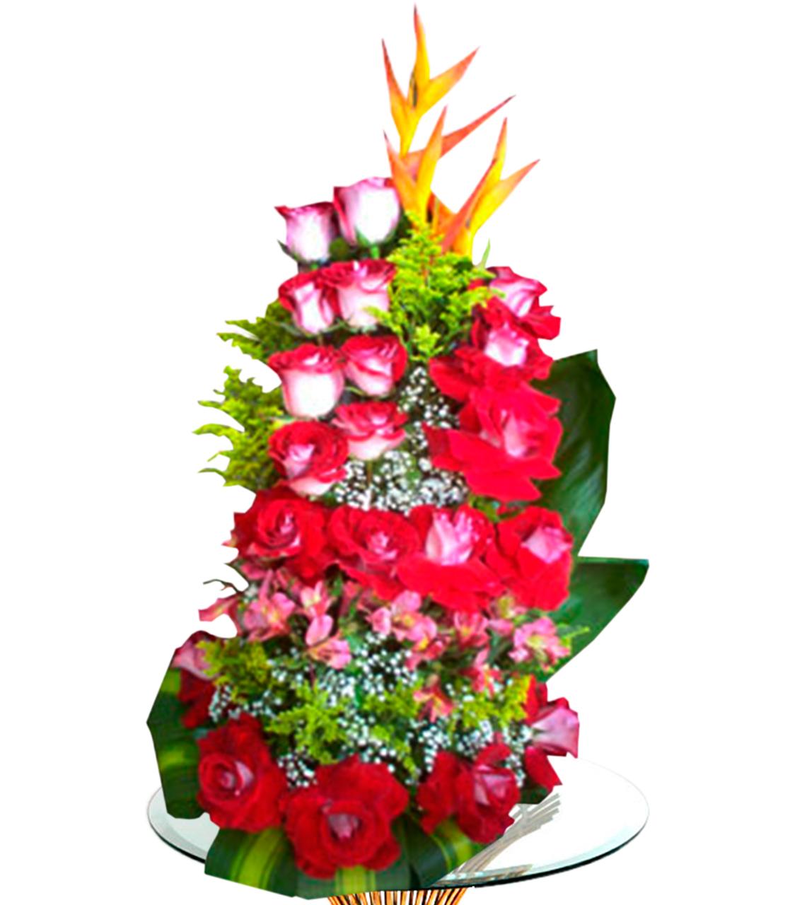 Bouquet en tres dimencion con rosas matizadas