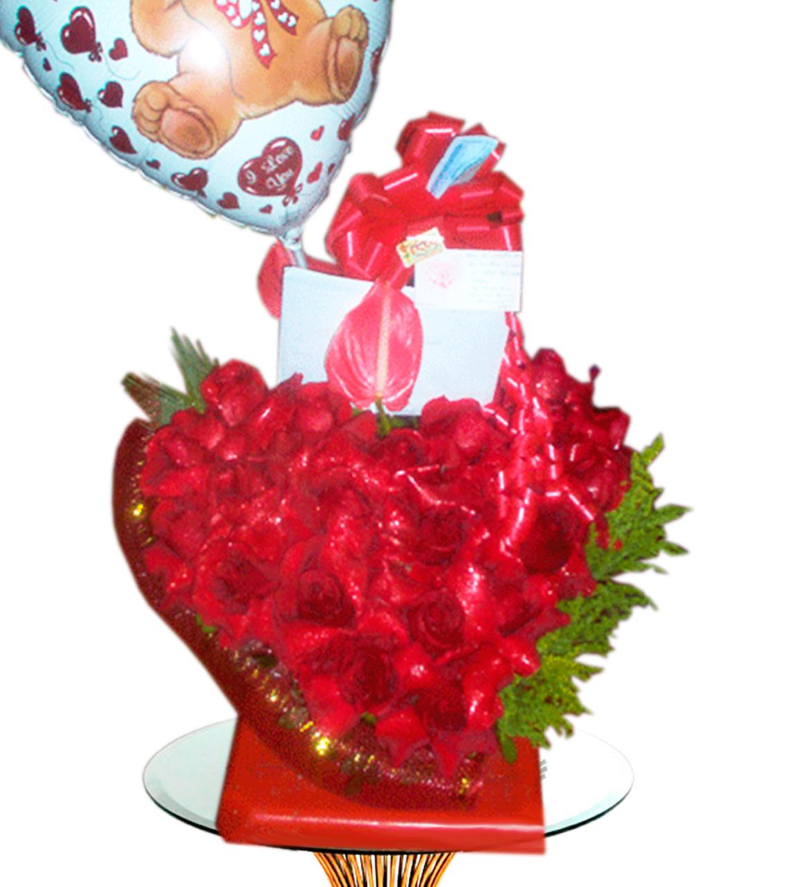 Buquet con Rosas y Globo