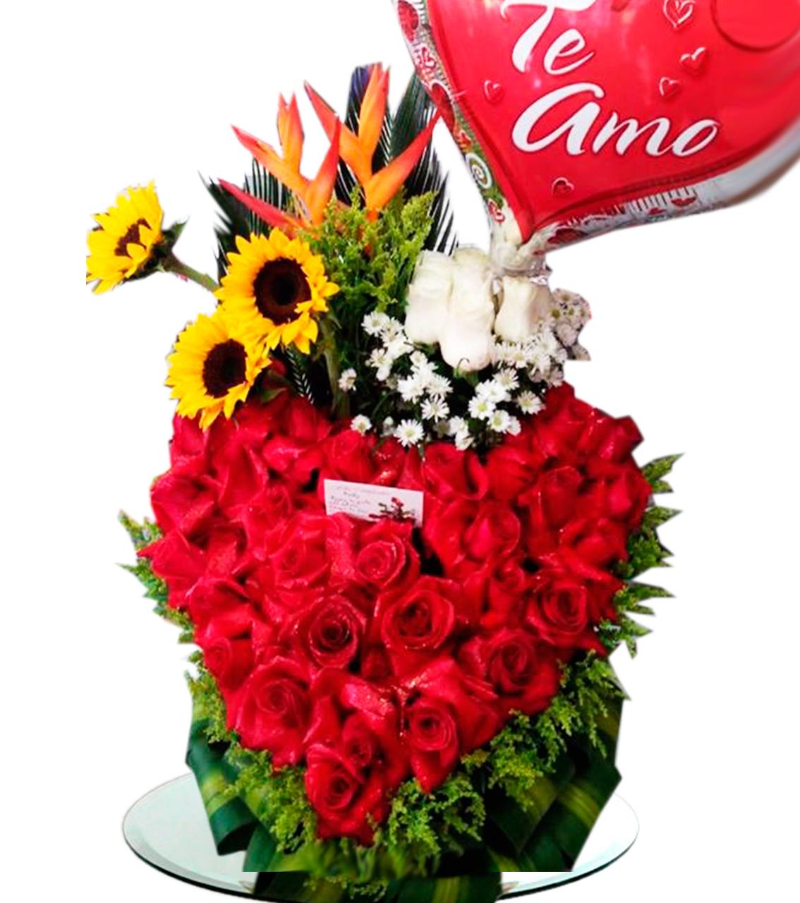 Bouquet Corazón Rojo Blanco