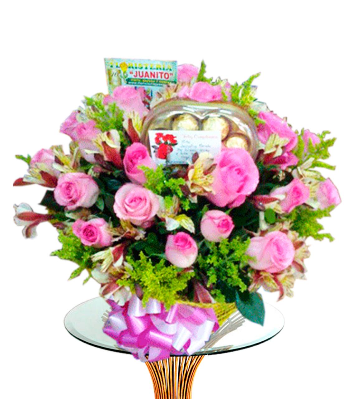 Bouquet con Flores Rosadas