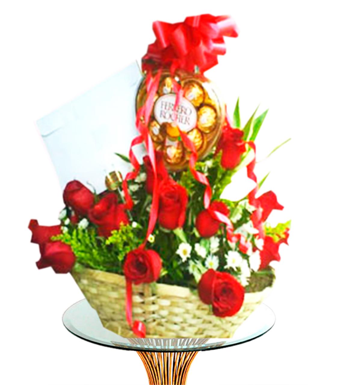 Bouquet en canasta redonda con rosas rojas